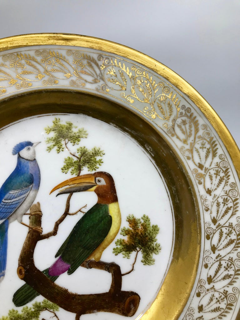 Gilt and Painted Neoclassical French Empire Bird Plate For Sale 3