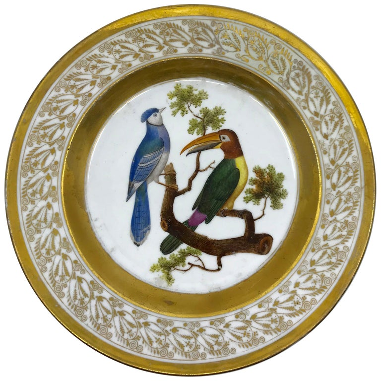 Gilt and Painted Neoclassical French Empire Bird Plate For Sale