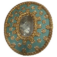 Gilt and Painted Wood Mirror
