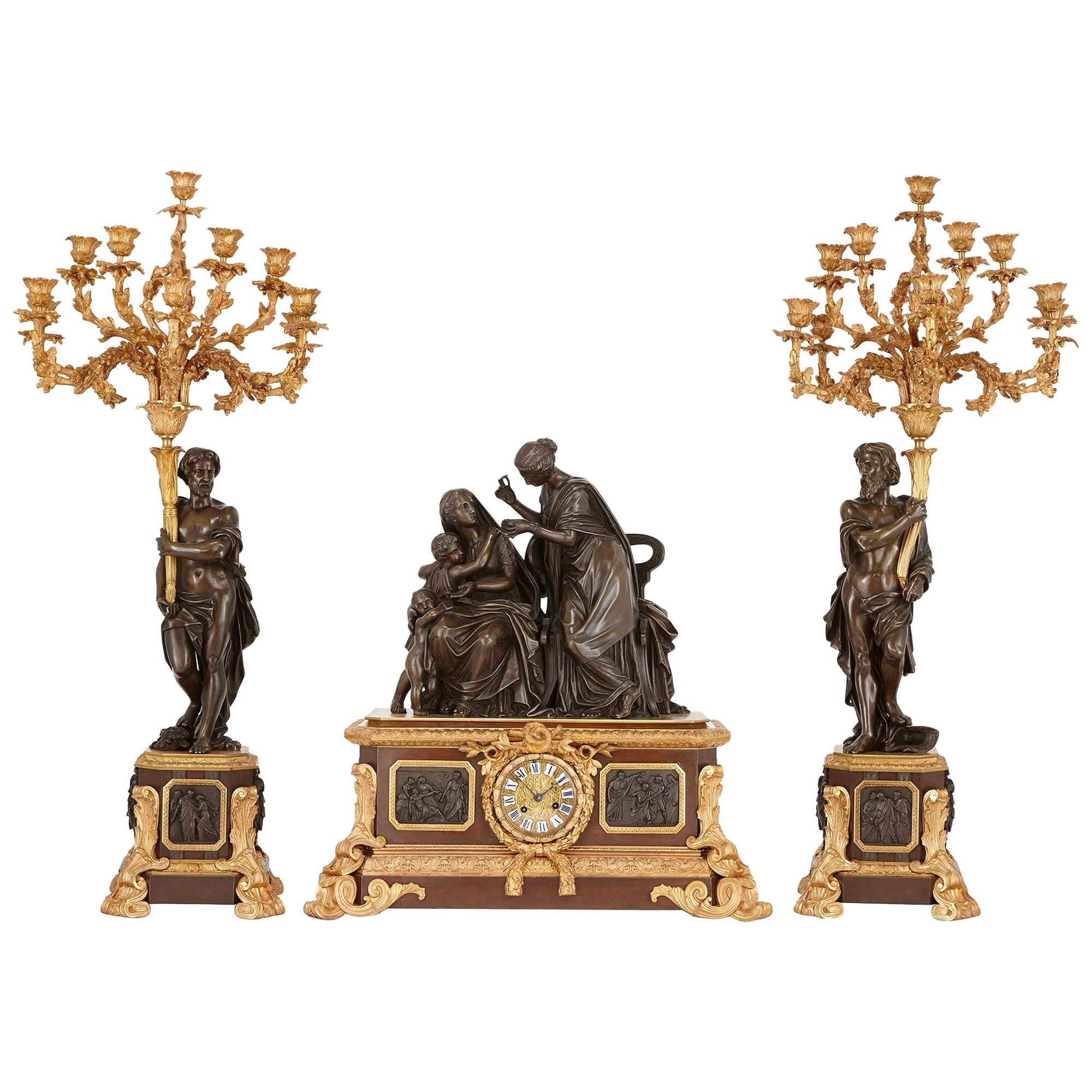 Gilt and Patinated Bronze Antique French Clock Set by Picard
