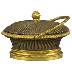 Gilt and Patinated Bronze Basket Form Covered Inkwell, French, circa 1860