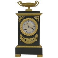 Gilt and Patinated Bronze French Empire Mantel Clock