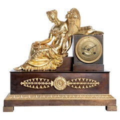 Gilt and Patinated Bronze Mantel Clock, Machine Signed L. Moinet, France