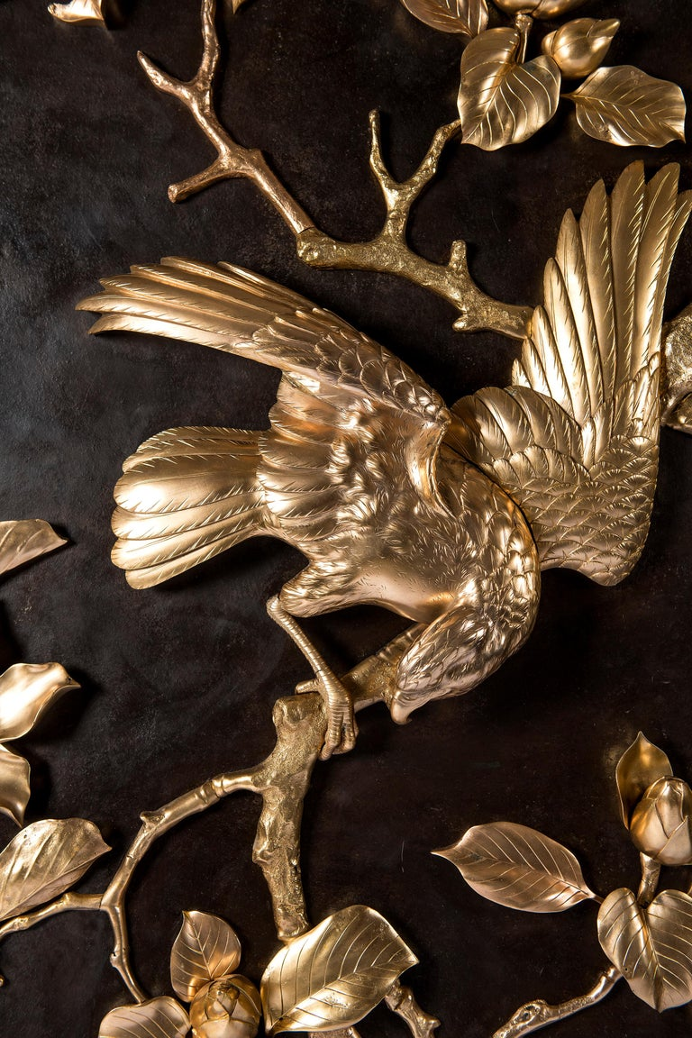 Gilt and patinated bronze plaque. Japan, circa 1900.