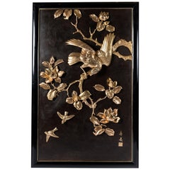 Gilt and Patinated Bronze Plaque, Japan, circa 1900