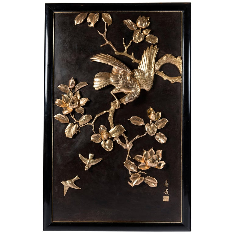 Gilt and Patinated Bronze Plaque, Japan, circa 1900 For Sale