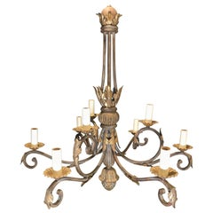 Gilt and Patinated Iron Chandelier