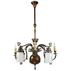 Gilt and Satin Gas and Electric Chandelier, circa 1890