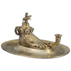 Gilt and Silver Plated Roman Lamp Inkwell on Stand by Elkington & Co, circa 1845