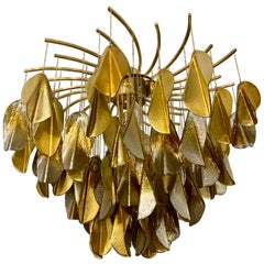Gilt and Silvered Mirrored Murano Glass Cascade Oval Chandelier, 1980s