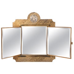 Gilt ans Silver Easel Mirror by The Meriden Britannia Company, USA circa 1876