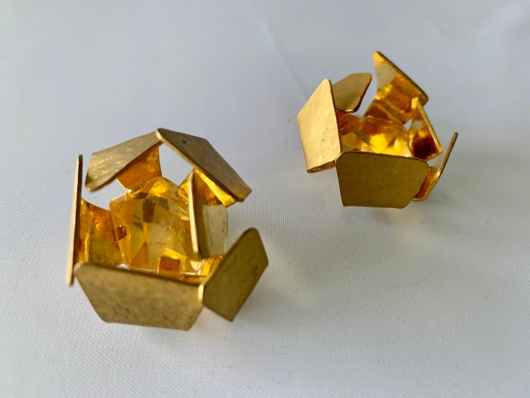 Contemporary Gilt Architectural Rock Crystal Earrings by Herve Van Der Straeten For Sale