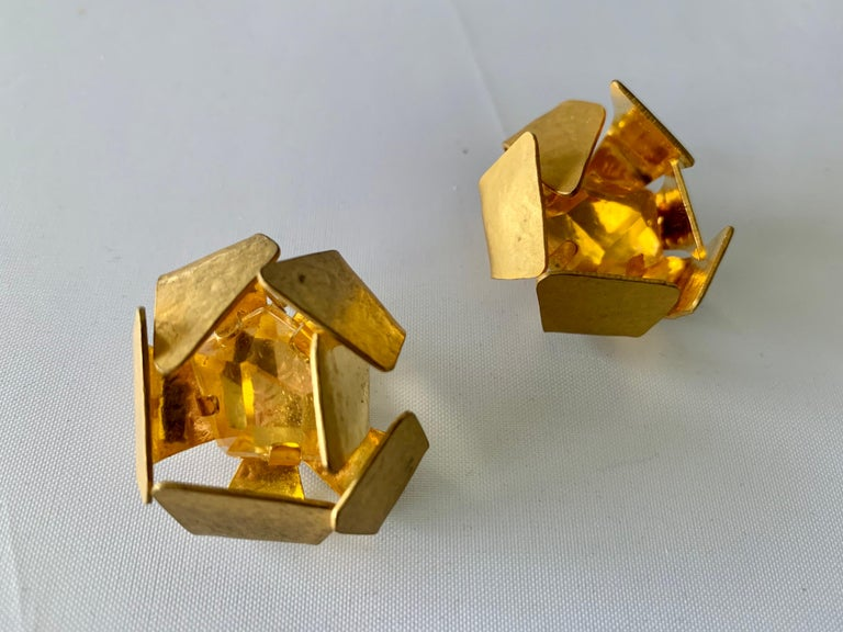 Cushion Cut Gilt Architectural Rock Crystal Earrings by Herve Van Der Straeten For Sale