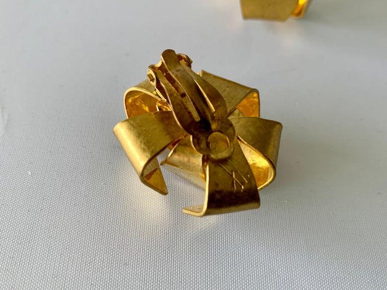 Women's Gilt Architectural Rock Crystal Earrings by Herve Van Der Straeten For Sale