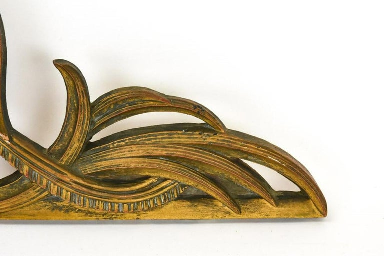 Gilt Art Nouveau Style Cast Wall Plaque Sculpture In Good Condition For Sale In Great Barrington, MA
