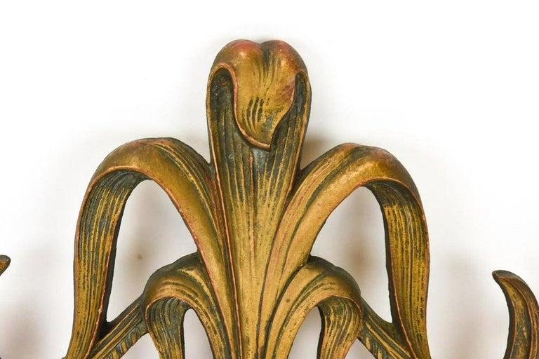 Gilt Art Nouveau Style Cast Wall Plaque Sculpture For Sale 2