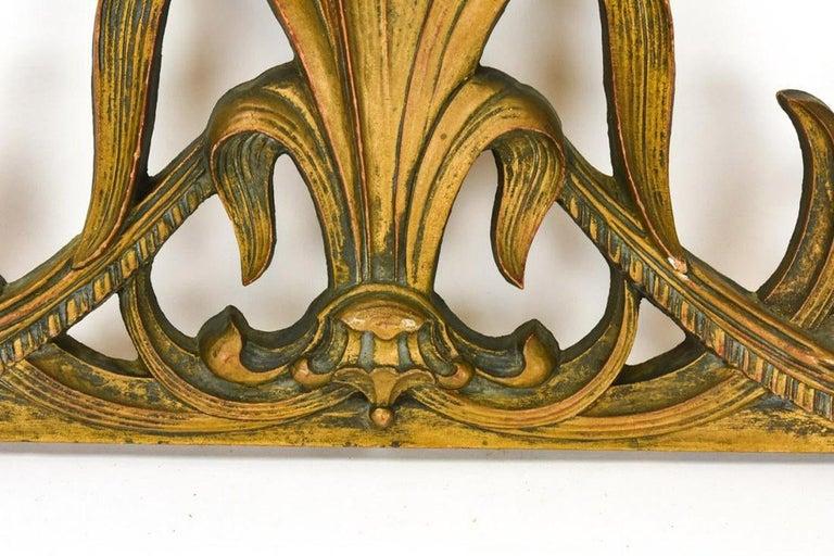 Gilt Art Nouveau Style Cast Wall Plaque Sculpture For Sale 3