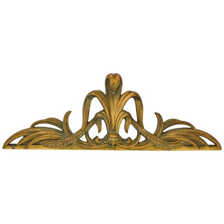 Gilt Art Nouveau Style Cast Wall Plaque Sculpture For Sale