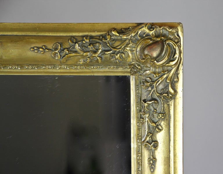Gold Leaf Gilt Biedermeier Mirror, France circa 1820 For Sale