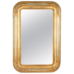 Gilt Biedermeier Wall Mirror with Silver Plated Half Rods, Austria, circa 1840