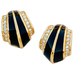 Gilt & Black Enamel Art Deco Style Earrings w Crystals by Christian Dior, 1980s