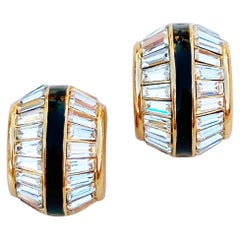 Gilt, Black Enamel & Baguette Crystal Huggie Earrings By Christian Dior, 1980s