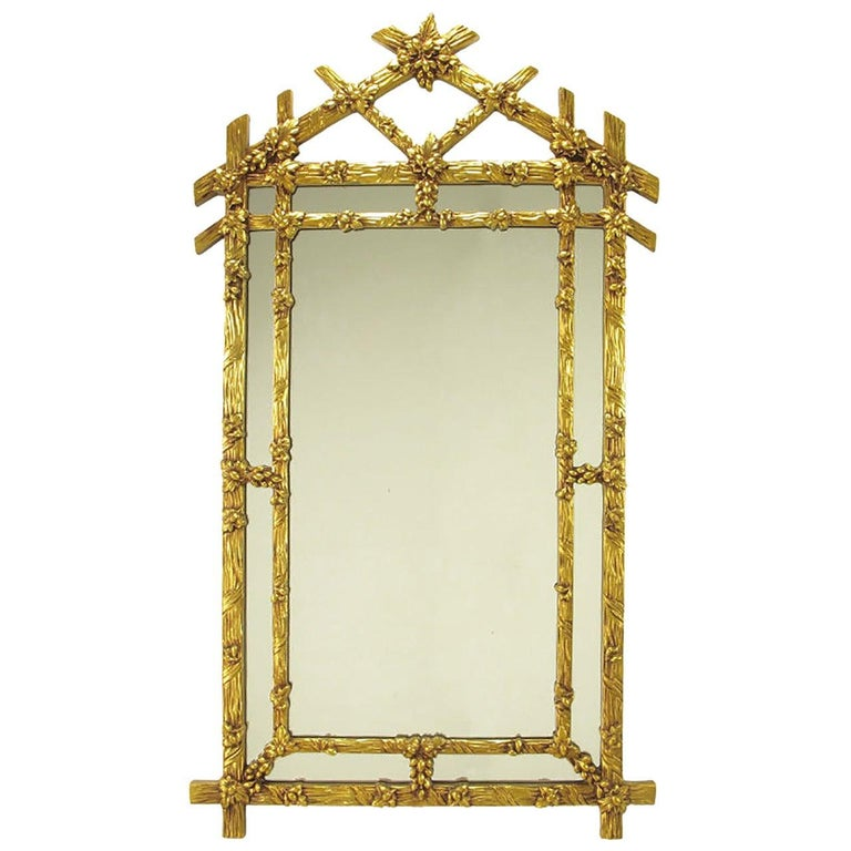 Gilt Black Forest Style Mirror with Segmented Frame For Sale