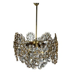 Gilt Brass and Crystal Glass Chandelier from Palwa, 1970s