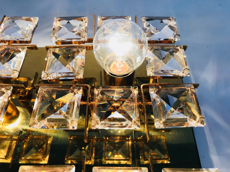 Gilt Brass and Crystal Glass Flush Mount by Palwa, Germany, 1970s For Sale 6
