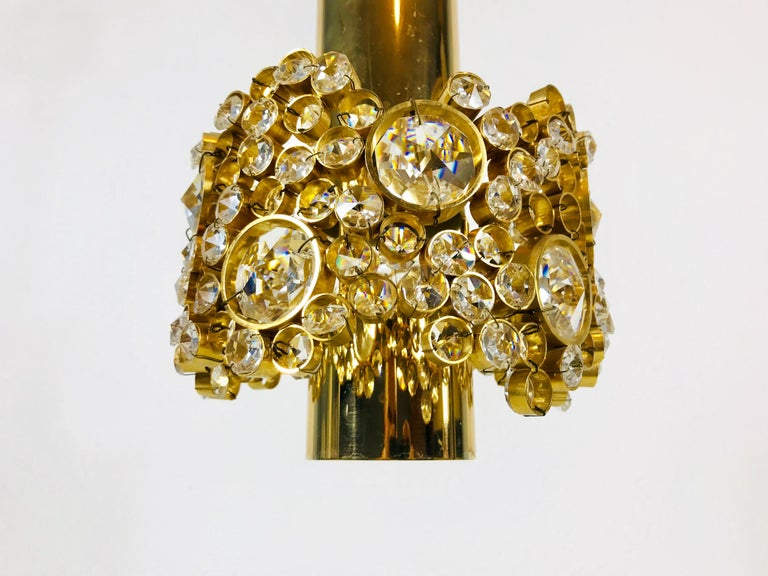 Gilt Brass and Crystal Glass Chandelier by Palwa, Germany, 1970s For Sale 6