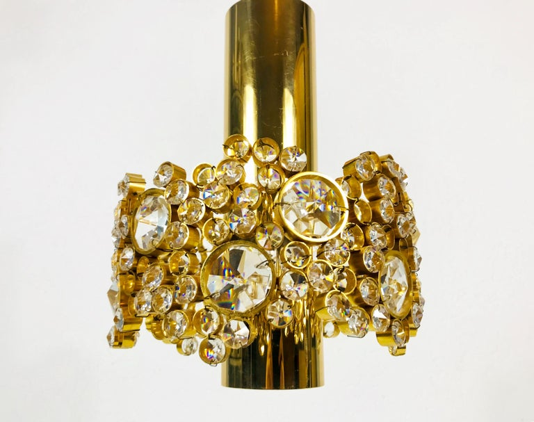 Gilt Brass and Crystal Glass Flush Mount by Palwa, Germany, 1970s For Sale 7