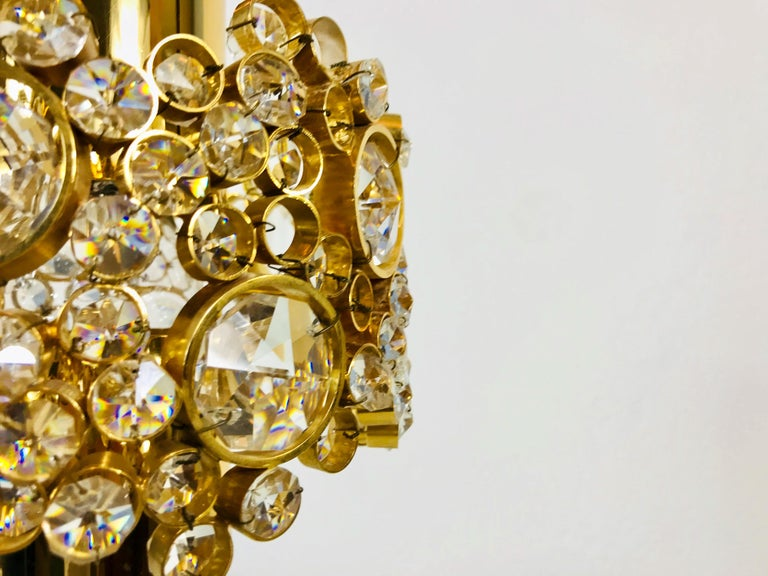 Gilt Brass and Crystal Glass Chandelier by Palwa, Germany, 1970s For Sale 7