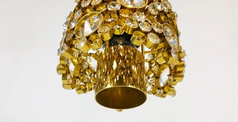 Gilt Brass and Crystal Glass Chandelier by Palwa, Germany, 1970s For Sale 9