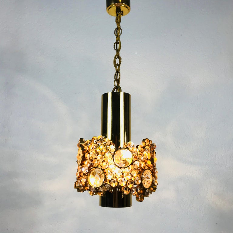 Gilt Brass and Crystal Glass Chandelier by Palwa, Germany, 1970s For Sale 10