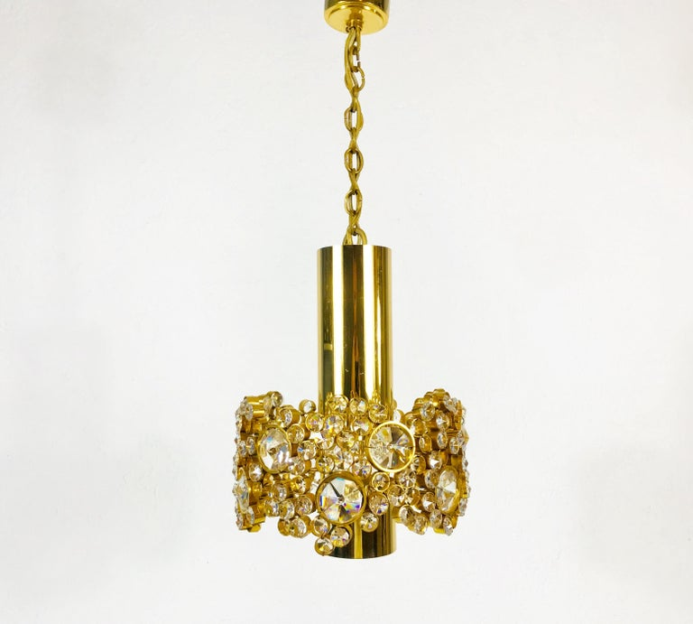 Hollywood Regency Gilt Brass and Crystal Glass Flush Mount by Palwa, Germany, 1970s For Sale