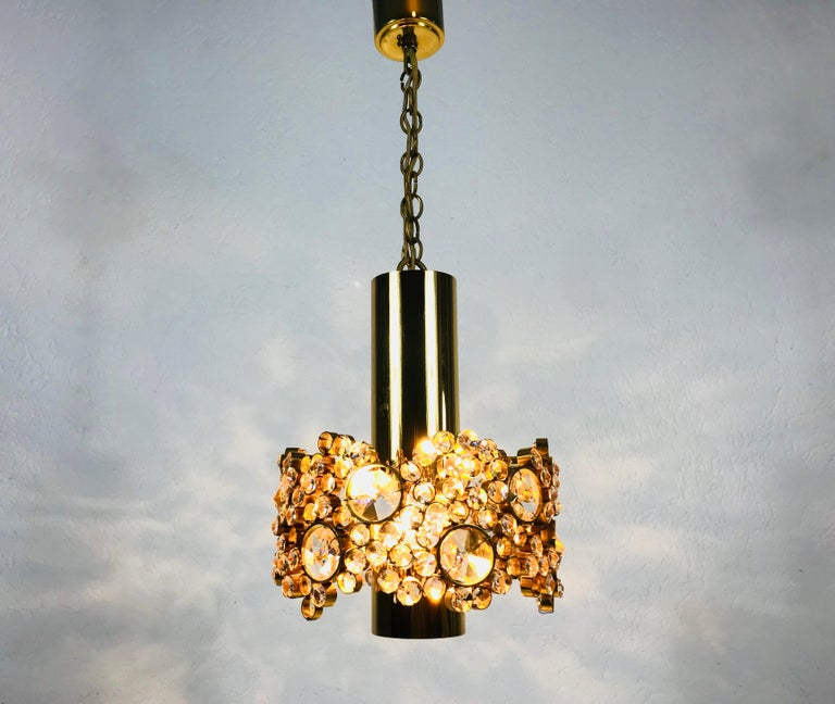 Gilt Brass and Crystal Glass Flush Mount by Palwa, Germany, 1970s For Sale 4
