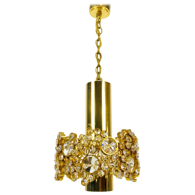 Gilt Brass and Crystal Glass Flush Mount by Palwa, Germany, 1970s For Sale