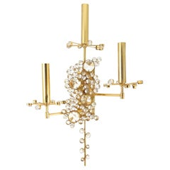 Gilt Brass and Crystal Glass Sconce from Palwa, 1960s