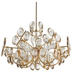 Gilt Brass and Glass Chandelier Lamp by Palwa, 1970