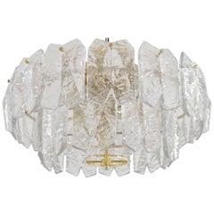 Gilt Brass and Ice Glass Brutalist Palazzo Flush Light by Kalmar, Austria