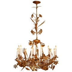 Gilt Brass Chandelier with Clusters of Brass Grapes, Leaves and Sheaths of Wheat