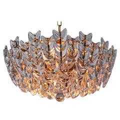 Gilt Brass Chandelier with Glass, German, circa 1960s