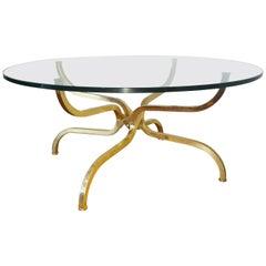 Gilt Brass Coffee Table by Georges Geffroy, circa 1965