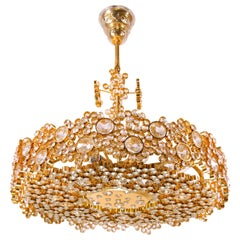 Palwa Gilt Brass Crystal Chandelier 1960s