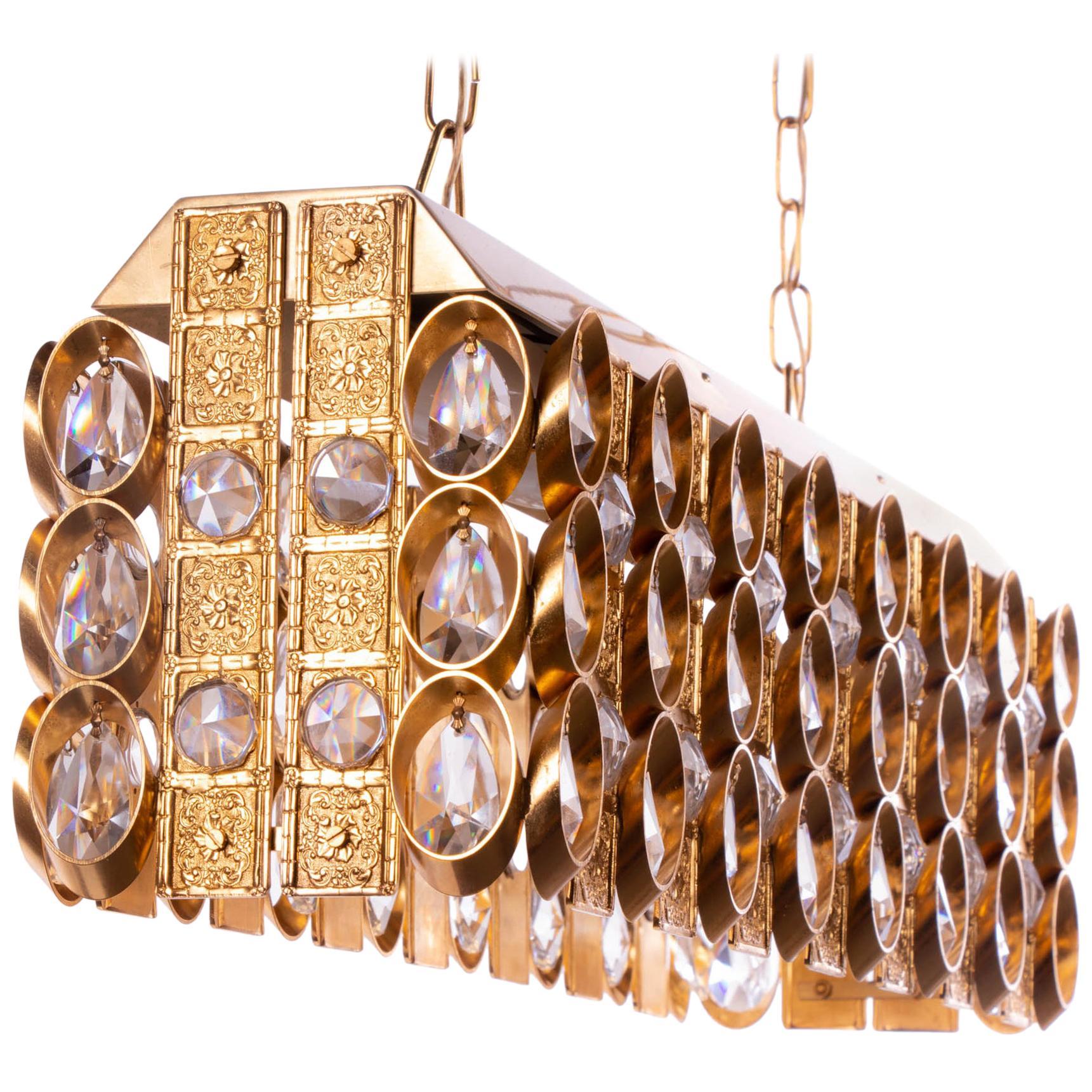 1960 Germany Palwa Chandelier Crystal & Gilt Brass by Christoph Palme