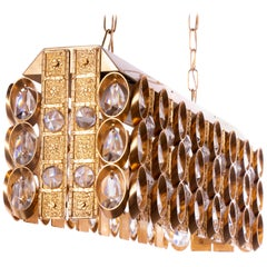 Palwa Chandelier Gilt Brass & Crystal, 1960s