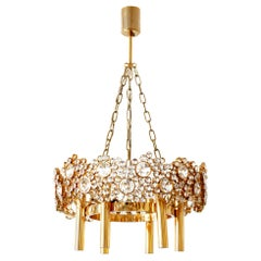 Gilt Brass Facet Cut Crystal Glass Chandelier 'Jewel' by Palwa, 1970s, Germany