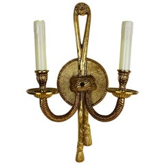 Gilt Brass Hollywood Regency Tole Rope and Tassel Wired Sconce