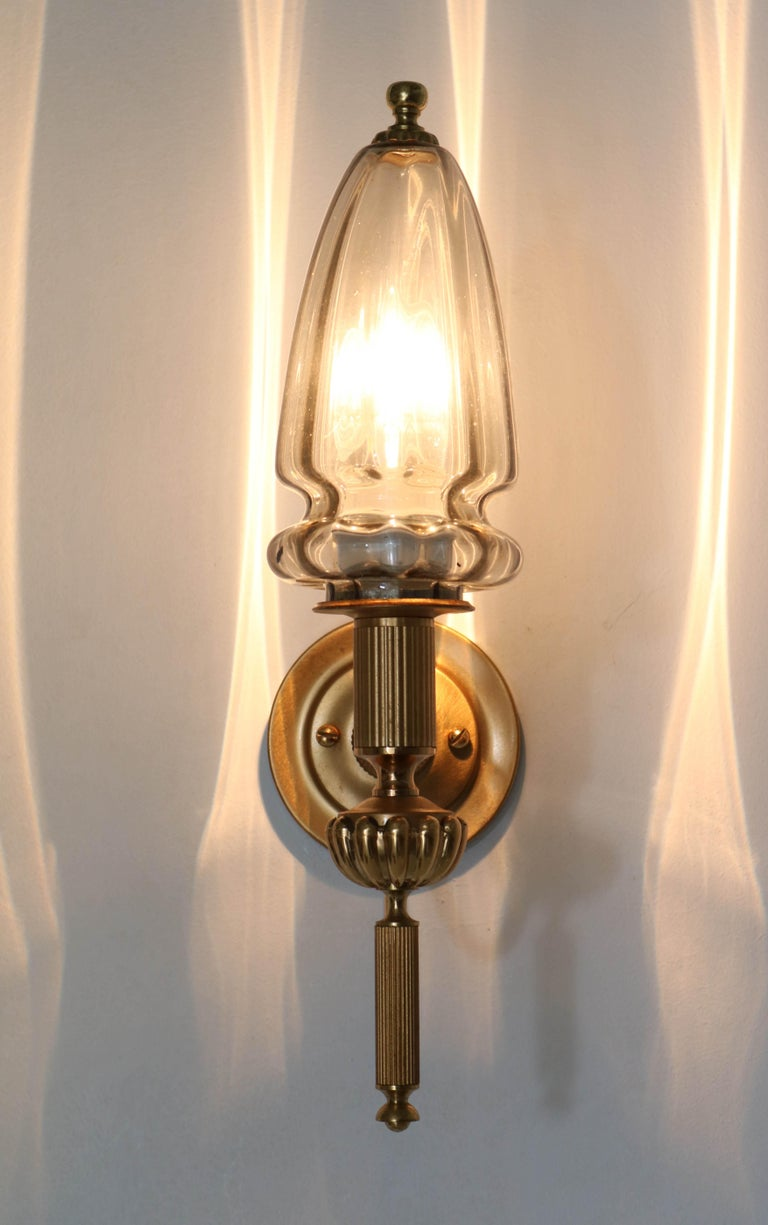 Gilt Brass Hollywood Regency Wall Light or Sconce by Gaetano Sciolari, 1970s In Good Condition For Sale In Amsterdam, NL