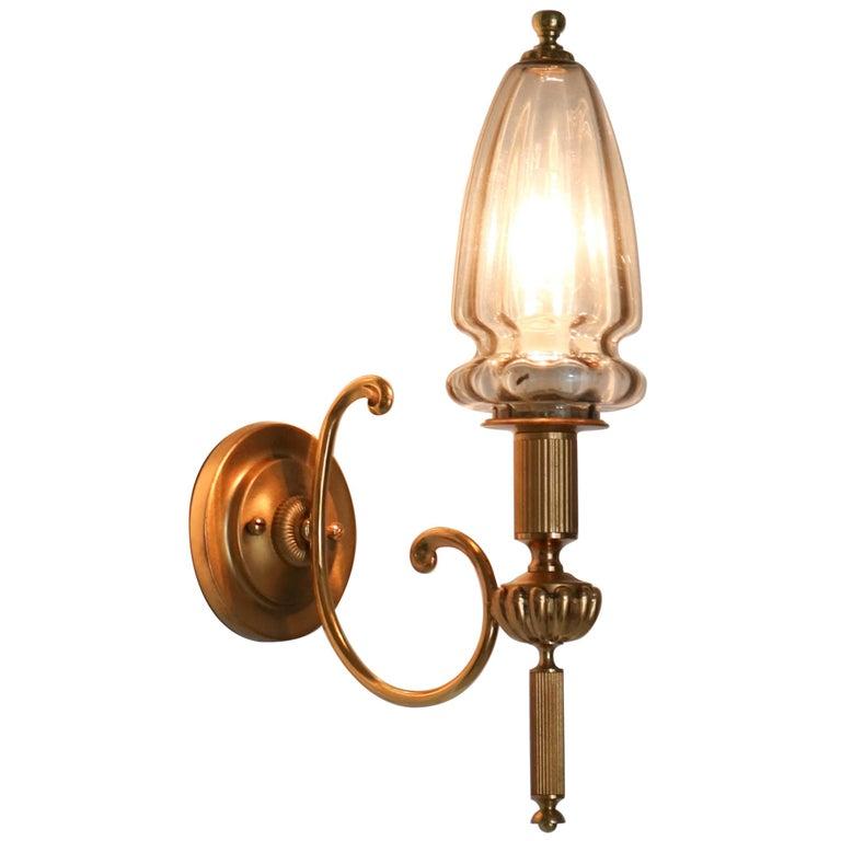 Gilt Brass Hollywood Regency Wall Light or Sconce by Gaetano Sciolari, 1970s For Sale